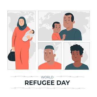 Ilustração do conceito do dia mundial do refugiado