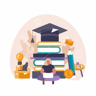 Ilustração do conceito do ensino eletrónico da mulher que usa o pc do portátil e da tabuleta para o estudo e a educação da distância.