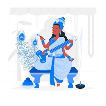 Ilustração do conceito do festival vasant panchami
