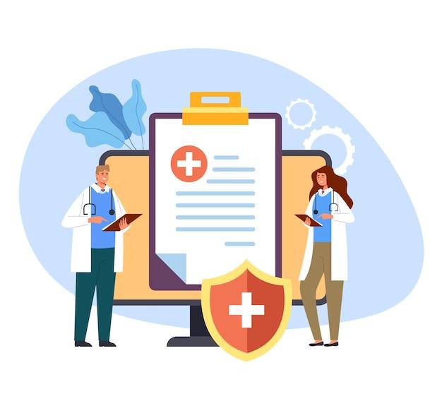 Ilustração do conceito do hospital do tratamento da proteção dos cuidados de saúde da medicina