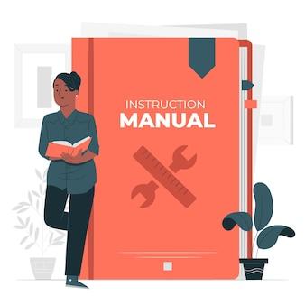 Ilustração do conceito do manual de instruções
