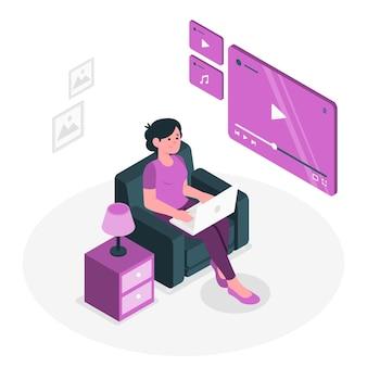 Ilustração do conceito do media player