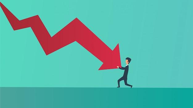 Ilustração do conceito do negócio da perda da recessão da bancarrota do homem de negócios.