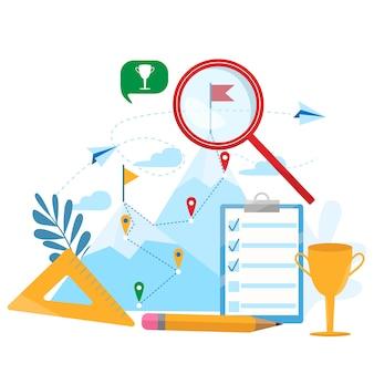 Ilustração do conceito do negócio do vetor do estabelecimento de objetivos. realização, carreira, atingindo objetivo, motivação, crescimento, liderança. ilustração plana moderna