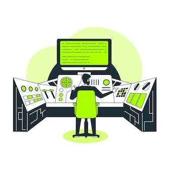 Ilustração do conceito do painel de controle