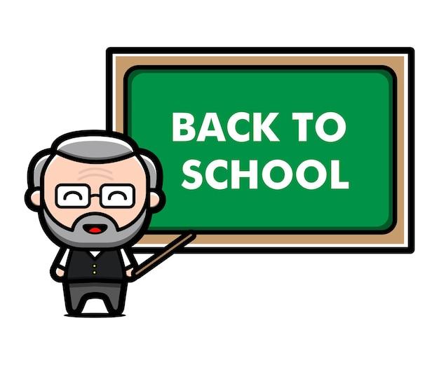 Ilustração do conceito do professor fofo de volta à escola Vetor Premium