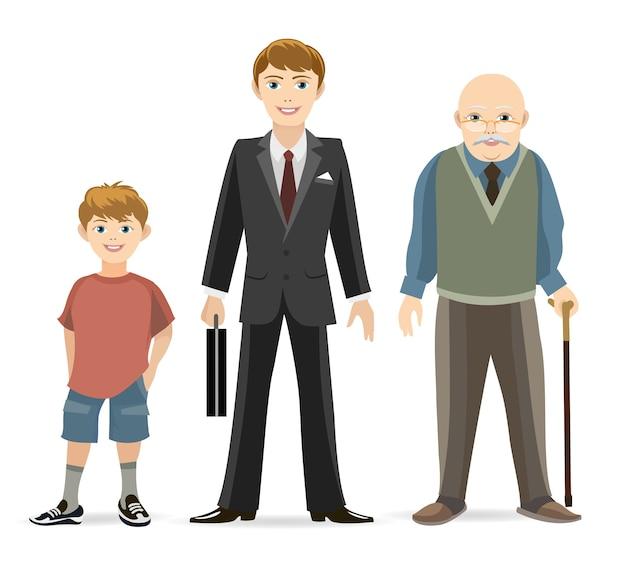 Ilustração do conceito do progresso da idade do homem. velho e adulto, homem jovem, velho.