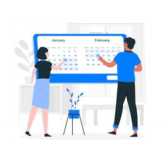 Ilustração do conceito do selecionador de data