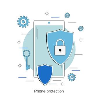 Ilustração do conceito do vetor isométrico 3d da proteção do telefone