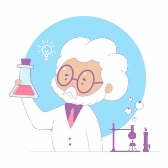 Ilustração do conceito dos desenhos animados da ciência com o professor no laboratório.