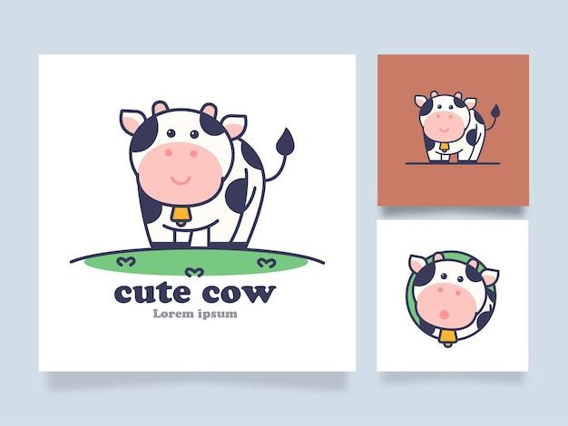 Ilustração do conceito dos desenhos animados do logotipo da vaca fofa com design alternativo
