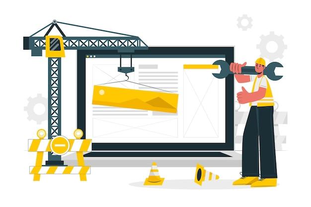 Ilustração do conceito em construção
