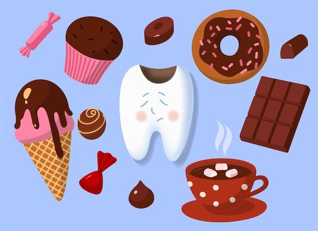 Ilustração do conceito, estilo cartoon. maus hábitos para os dentes. produtos prejudiciais. um dente triste com cáries e bombons de chocolate ao redor. ilustração de humor fofo.
