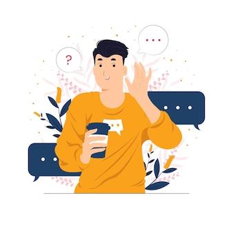 Ilustração do conceito falando, ouvindo, ouvindo, sussurrando e preste atenção
