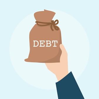 Ilustração do conceito financeiro da dívida