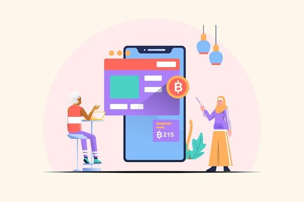 Ilustração do conceito financeiro móvel