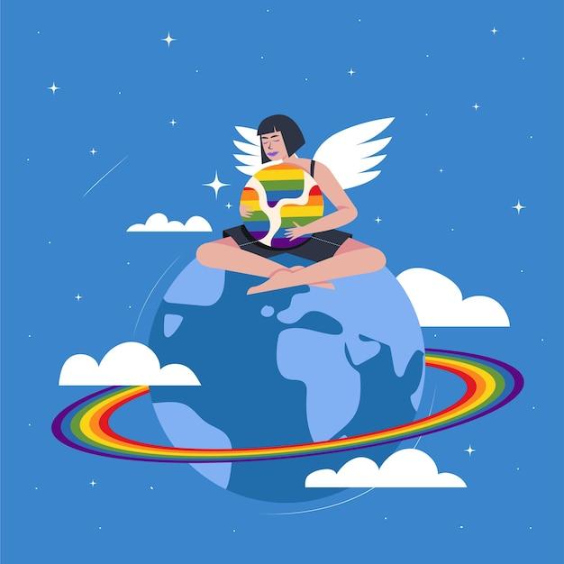 Ilustração do conceito gay do orgulho mundial