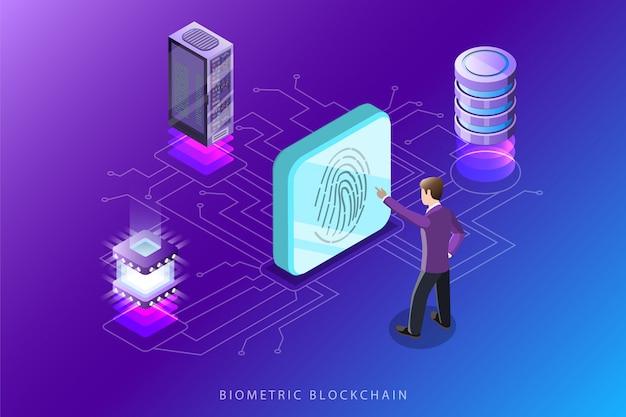Ilustração do conceito isométrica plana blockchain biométrica.