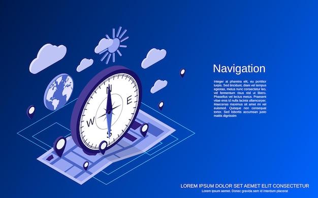 Ilustração do conceito isométrico 3d de navegação plana