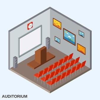 Ilustração do conceito isométrico 3d no auditório