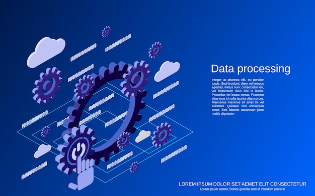 Ilustração do conceito isométrico 3d plana de processamento de dados