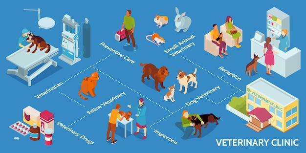Ilustração do conceito isométrico de clínica veterinária