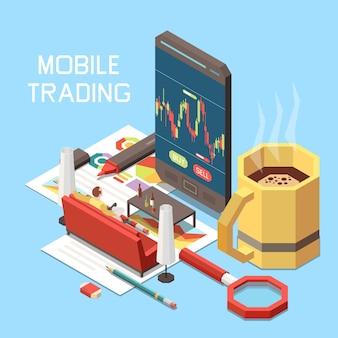 Ilustração do conceito isométrico de comércio online