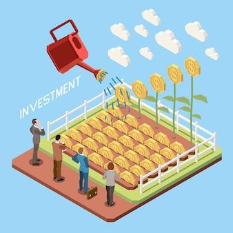 Ilustração do conceito isométrico de crescimento de investimento em comércio online