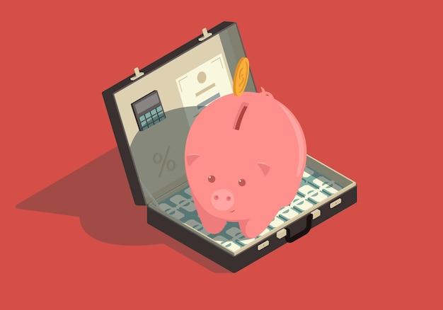 Ilustração do conceito isométrico de economia de dinheiro