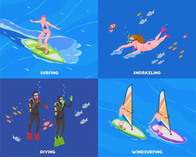 Ilustração do conceito isométrico de esportes aquáticos