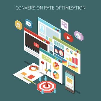 Ilustração do conceito isométrico de otimização da taxa de conversão
