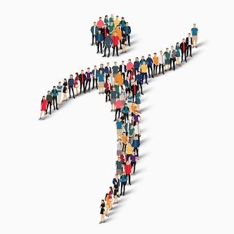 Ilustração do conceito isométrico de pessoas aglomeradas