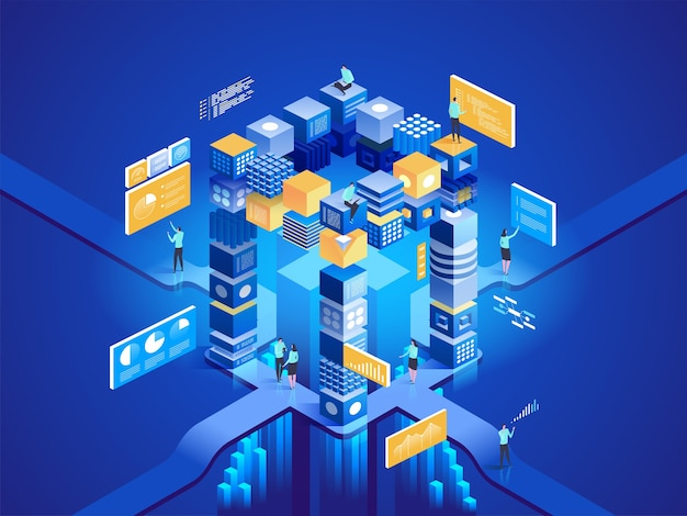 Ilustração do conceito isométrico de tecnologia