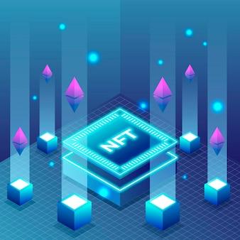 Ilustração do conceito nft de design plano