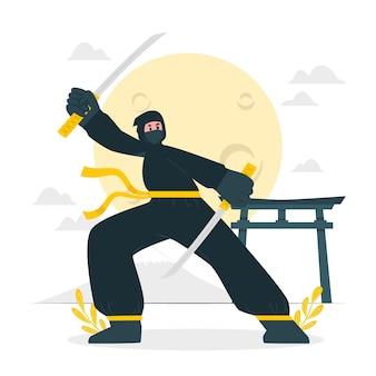 Ilustração do conceito ninja