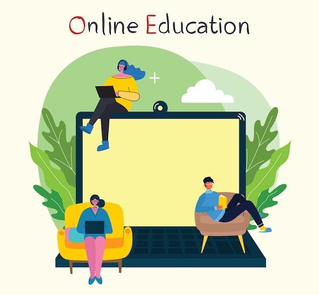 Ilustração do conceito on-line do webinar. as pessoas usam o bate-papo por vídeo no desktop e no laptop para fazer conferências.