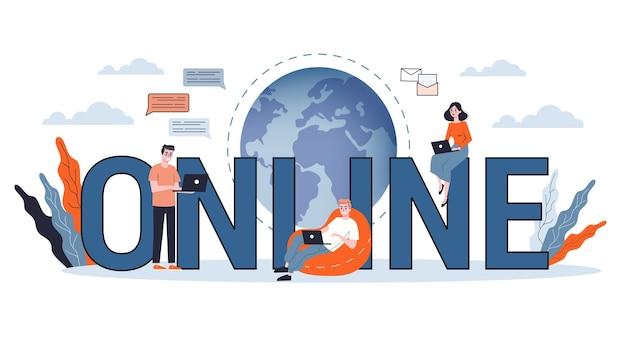 Ilustração do conceito online. idéia de mídia social, rede e web.