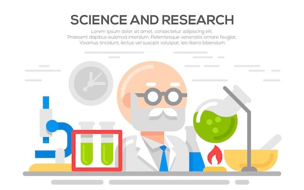 Ilustração do conceito plana de ciência.