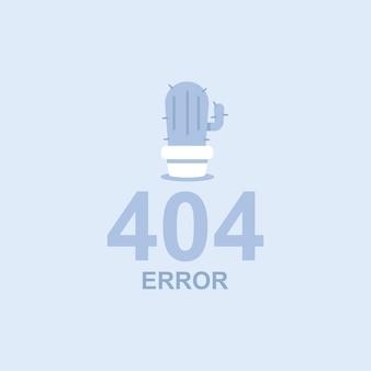 Ilustração do conceito plana de erro 404 com um cacto em uma panela.