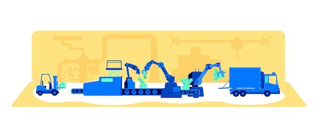 Ilustração do conceito plano do processo de produção da planta
