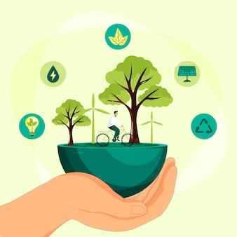 Ilustração do conceito save the planet
