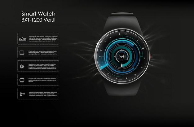 Ilustração do conceito smartwatch, funções de tecnologia e modelo te