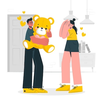 Ilustração do conceito surpresa do dia dos namorados