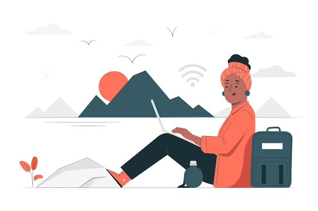 Ilustração do conceito trabalhando em qualquer lugar