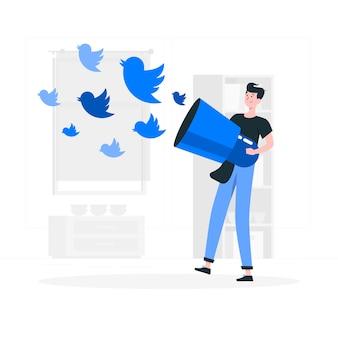 Ilustração do conceito tweetstorm