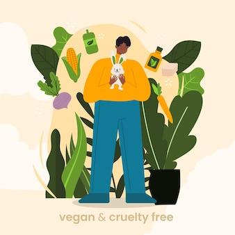 Ilustração do conceito vegano e livre de crueldade