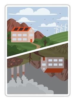 Ilustração do conceito vetorial sobre ecologia, meio ambiente, energia verde e poluição