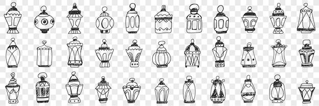 Ilustração do conjunto de abajures e cortinas de decoração