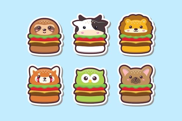Ilustração do conjunto de adesivos com desenho de hambúrguer de animal fofo kawaii