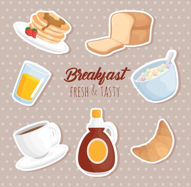 Ilustração do conjunto de adesivos de café da manhã
